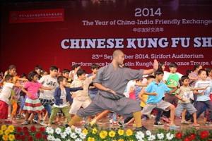 微少林寺武僧团弄在印度展即兴中国微少林功力