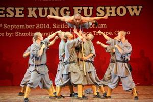 微少林寺武僧团弄在印度展即兴中国微少林功力坚硬气功